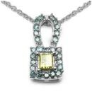 Yellow and Blue Diamond Pendant Necklace